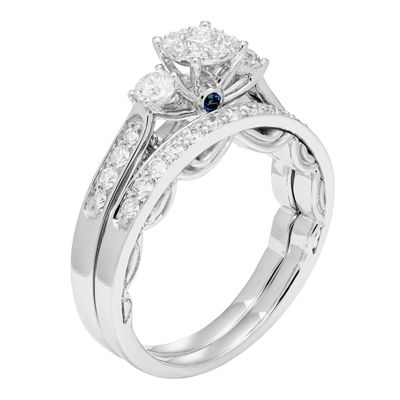 Enchanted Disney Fine Jewelry Womens 3/4 CT. T.W. Round White Diamond 14K Gold Engagement Ring