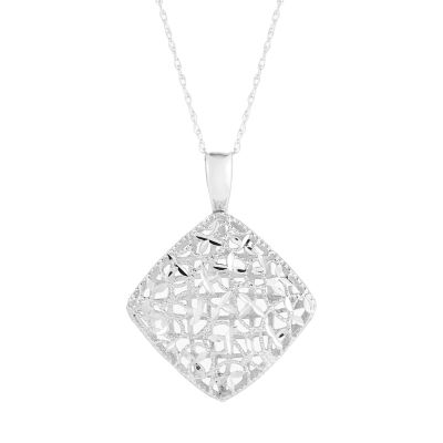 Womens 14K White Gold Pendant Necklace