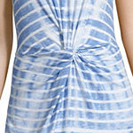 Liz Claiborne Ibiza Waves Short Sleeve Midi Tie Dye Shift Dress