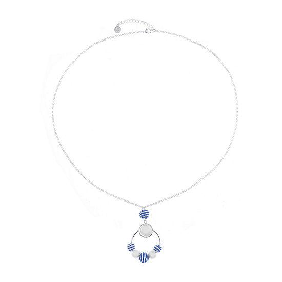 Liz Claiborne Malibu Pearl Womens Round Pendant Necklace