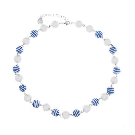 Liz Claiborne Malibu Pearl Womens Round Collar Necklace