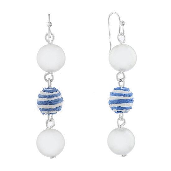 Liz Claiborne Malibu Pearl Round Drop Earrings