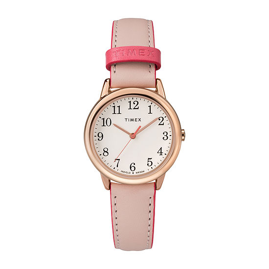 Timex Womens Pink Leather Strap Watch-Tw2r62800jt