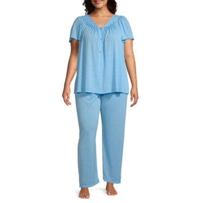 Collette By Miss Elaine Short Sleeve Pant Pajama Set 2-pc Womens - Plus