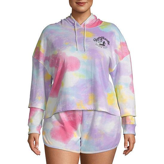 Womens Long Sleeve Fleece Hoodie-Juniors Plus