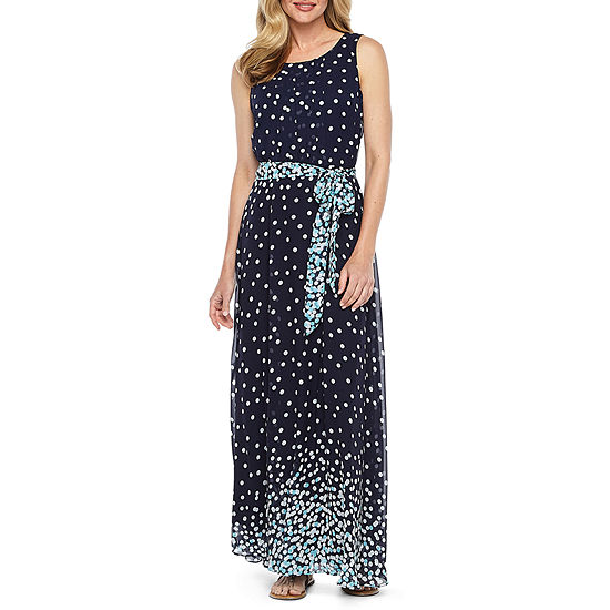 R K Originals Sleeveless Dots Maxi Dress