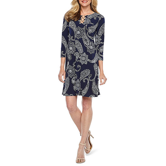 MSK 3/4 Sleeve Paisley Puff Print Shift Dress