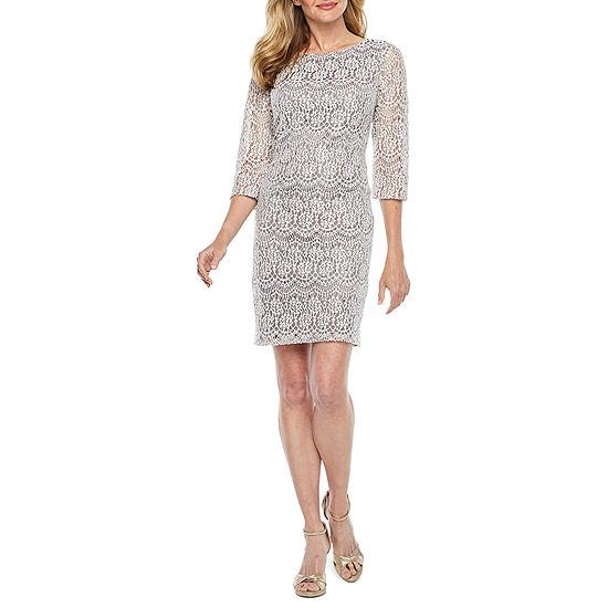 Jessica Howard 3/4 Sleeve Shift Dress