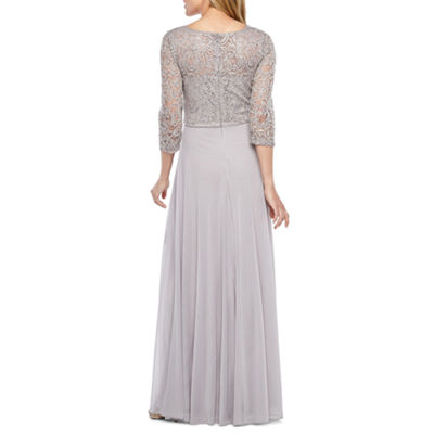 Jackie Jon 3/4 Sleeve Embellished Evening Gown