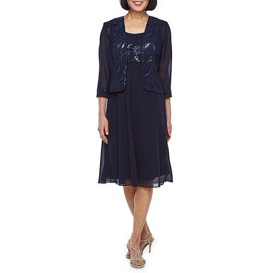 Maya Brooke 3 4 Sleeve Embroidered Jacket Dress