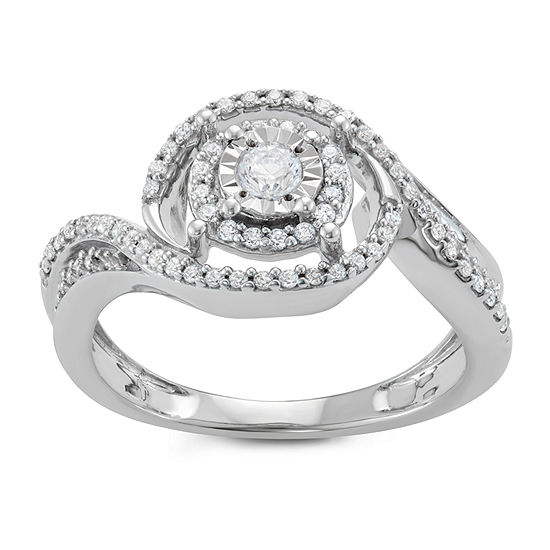 Womens 3/8 CT. T.W. Genuine White Diamond Engagement Ring