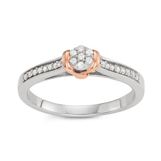 Womens 1/7 CT. T.W. Genuine White Diamond 10K Two Tone Gold Bridal Set