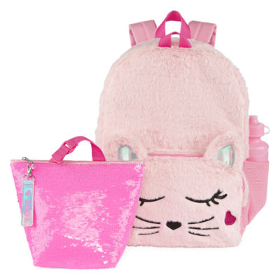 Fuzzy Pink Cat Backpack