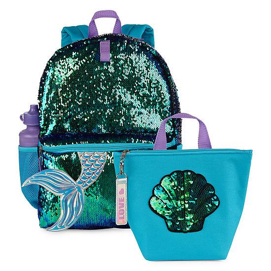 All Over Glitter Mermaid 3pc Backpack Set