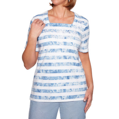 Alfred Dunner Monteray-Womens Square Neck Short Sleeve T-Shirt