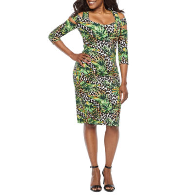 Bold Elements 3/4 Sleeve Leaf Bodycon Dress