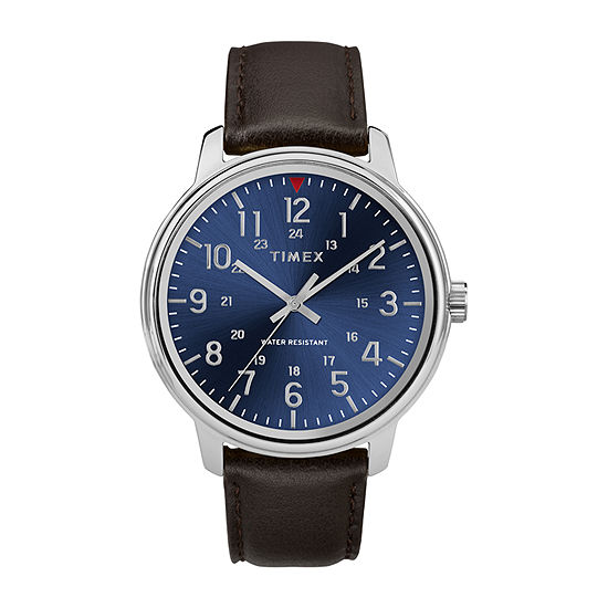 Timex Mens Brown Leather Strap Watch-Tw2r85400jt