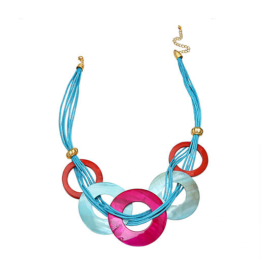 Mixit Shell And Metal Circle Womens Statement Necklace