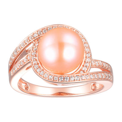 Womens 9MM Pink Cultured Freshwater Pearl 14K Rose Gold Over Silver Cocktail Ring