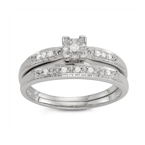 Womens 1/10 CT. T.W. Genuine White Diamond 14K White Gold Over Silver Bridal Set