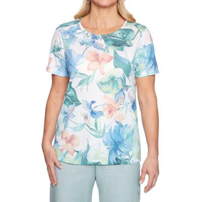 Alfred Dunner Monterey-Womens Crew Neck Short Sleeve T-Shirt