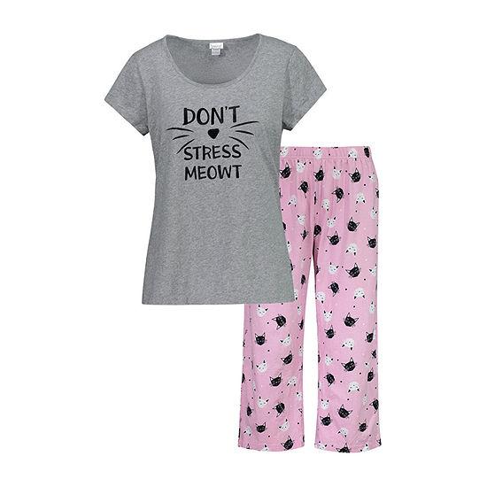 Be Yourself Be Yourself 2 Pc Capri Set Womens Capri Pajama Set 2-pc. Short Sleeve Scallop Neck -Juniors Plus