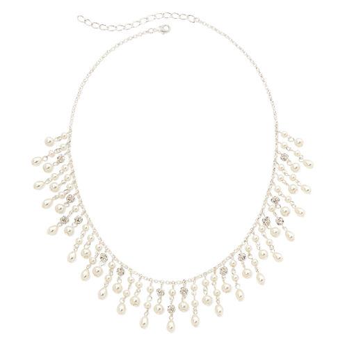Vieste® Simulated Pearl Silver-Tone Teardrop Necklace