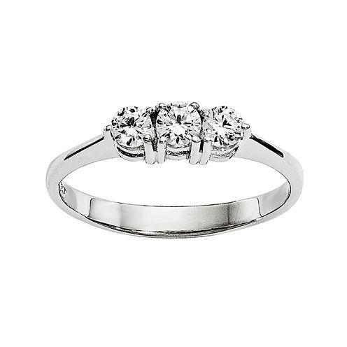 1/3 CT. T.W. Diamond 14K White Gold 3-Stone Ring