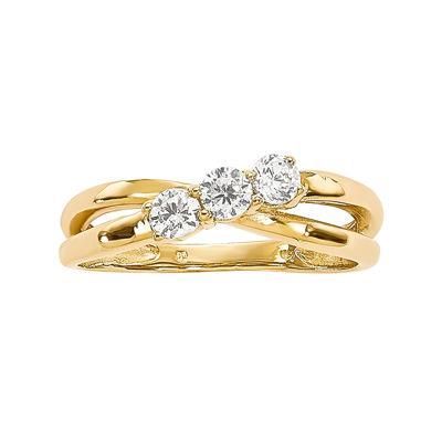 1/3 CT. T.W. Diamond 14K Yellow Gold 3-Stone Ring