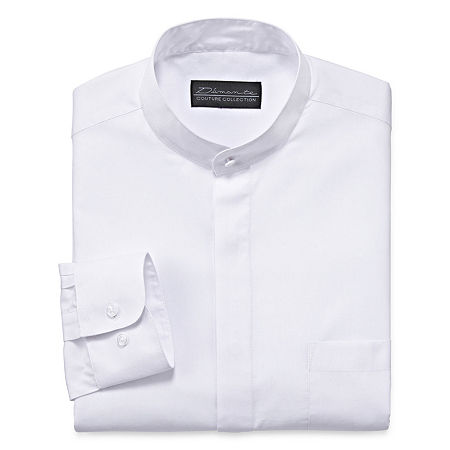 1920s Men's Dress Shirts, Casual Shirts DAmante Banded-Collar Dress Long Sleeves Shirt - Big  Tall 20 34-35 White $22.49 AT vintagedancer.com