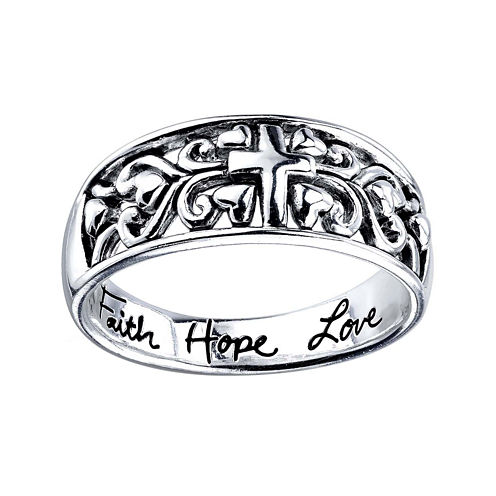 Footnotes® Sterling Silver Faith Ring