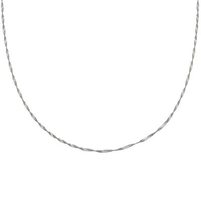 "Silver Reflections™ Sterling Silver 18"" Singapore Chain Necklace"