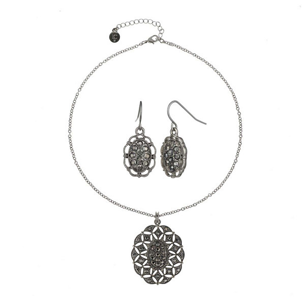 Liz Claiborne® Gray Stone Silver-Tone Openwork Drop Earring and Necklace Set