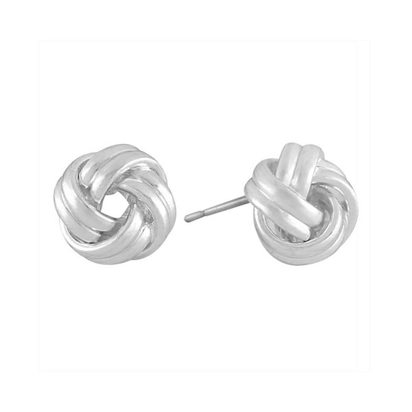Liz Claiborne® Silver-Tone Love Knot Button Earrings
