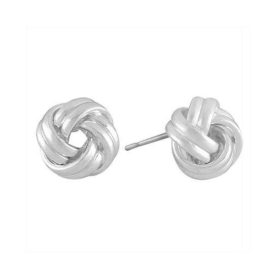 Liz Claiborne® Silver-Tone Love Knot Button Earrings