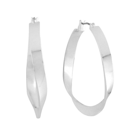 Liz Claiborne® Silver-Tone Ribbon Hoop Earrings