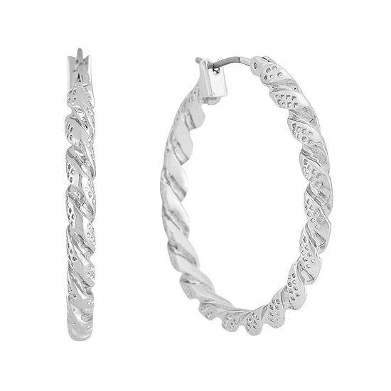 Monet Silver Tone Twist Hoop Earrings