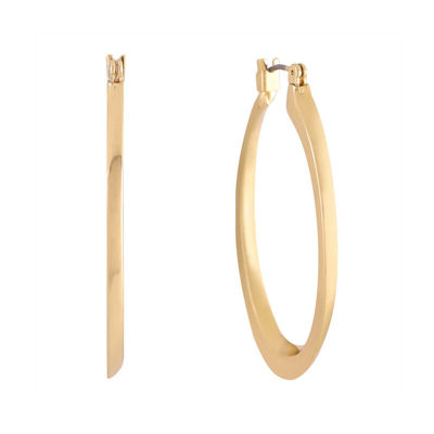 Monet® Gold-Tone Oval Edged Hoop Earrings