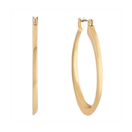 Monet® Gold-Tone Oval Edged Hoop Earrings