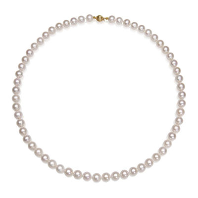 "AA Quality Cultured Freshwater Pearl 14K Yellow Gold 18"" Strand Necklace"
