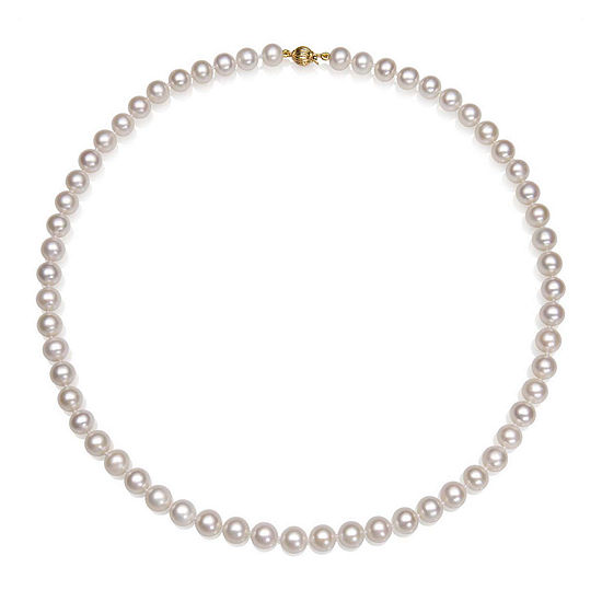 """AA Quality Cultured Freshwater Pearl 14K Yellow Gold 18"""" Strand Necklace"""