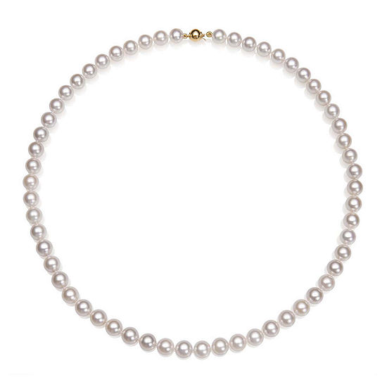 """A Quality Cultured Akoya Pearl 14K Yellow Gold 18"""" Strand Necklace"""