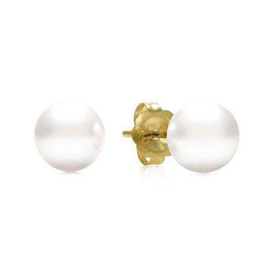 AA Quality 6-6.5mm Cultured Akoya Pearl 14K Yellow Gold Stud Earrings