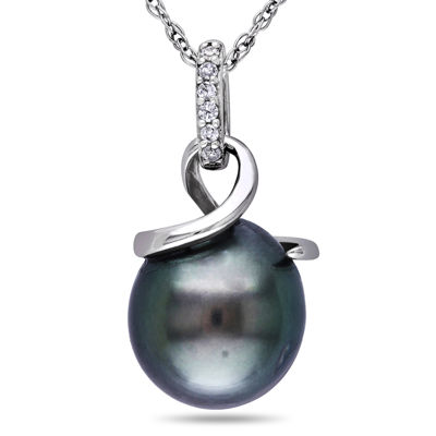 Genuine Black Tahitian Pearl & Diamond Accent 10K White Gold Pendant