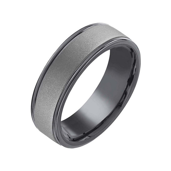Mens 7mm Tantalum Dark Grey Powder Coated Wedding Band