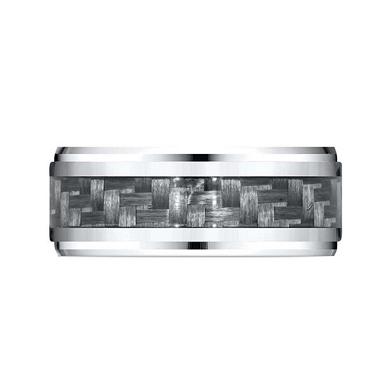 Mens 9mm Cobalt And Carbon Fiber Wedding Band Ring