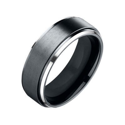 Mens 9mm Black Cobalt Wedding Band