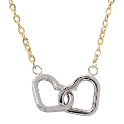 LIMITED QUANTITIES! 10K Two-Tone Gold Interlocking Hearts Necklace