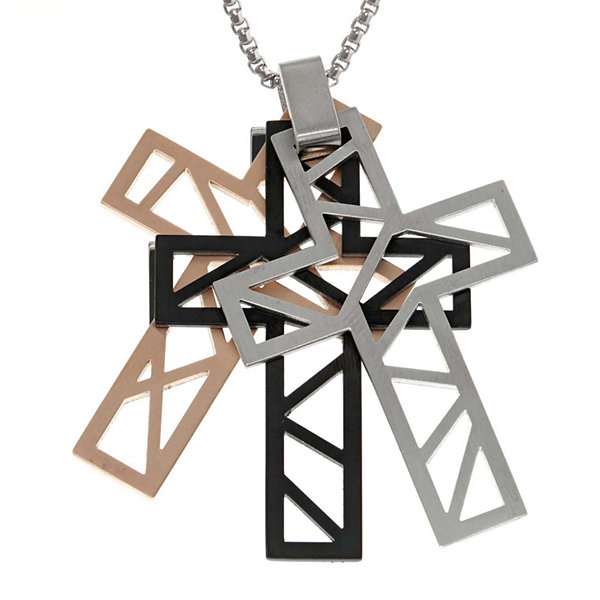 Mens Multicolor Stainless Steel Cutout Cross Pendant Necklace