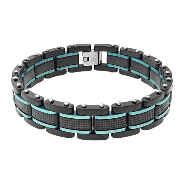 Mens Two-Tone Stainless Steel Textured Bracelet